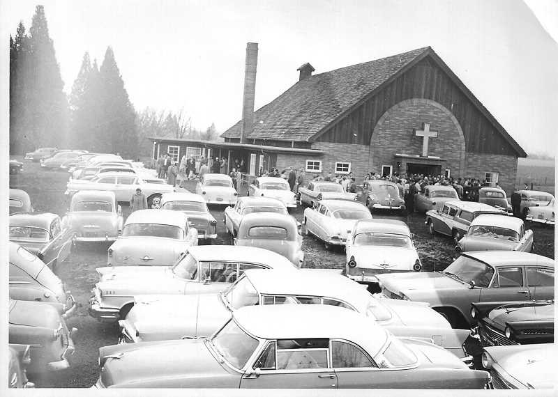 COURTESY PACIFIC NORTHWEST MENNONITE HISTORICAL SOCIETY. - A new church was built and dedicated in the mid-1950s. An add-on, which included a community room and gymnasium, was added around 1990.