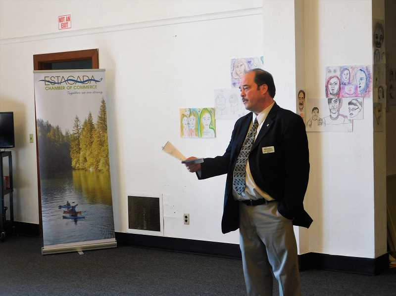 FILE PHOTO - Estacada Mayor Sean Drinkwine delivers his State of the City address during a Chamber of Commerce meeting earlier this year. Drinkwine is running for reelection this November and is the sole candidate for the position.