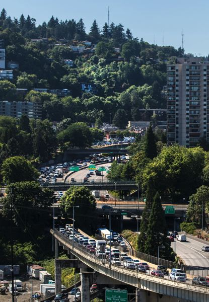 PAMPLIN FILE PHOTO - Traffic backs up on Interstate 405 in Portland during rush hour.