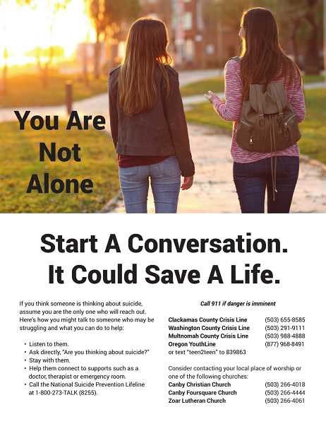The task force has delivered these fliers to area businesses. They are also available for pick-up at the Canby Public Library or by emailing hensleyt@canbyoregon.gov.