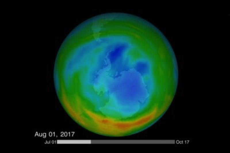 COURTESY: KATY MERSMANN/NASA'S GODDARD SPACE FLIGHT CENTER - Data from NASA shows a decrease in the seasonal ozone hole above Antarctica over the last decade, thanks to the phase-out of CFCs and other ozone-depleting chemicals as called for under 1987's landmark Montreal Protocol.