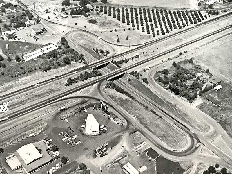 PHOTO COURTESY ODOT - In 1966, two years before Wilsonville incorporated as a city, the interchange of Wilsonville Road and Intersate 5 was a dramatically different sight. This view is looking northwest.