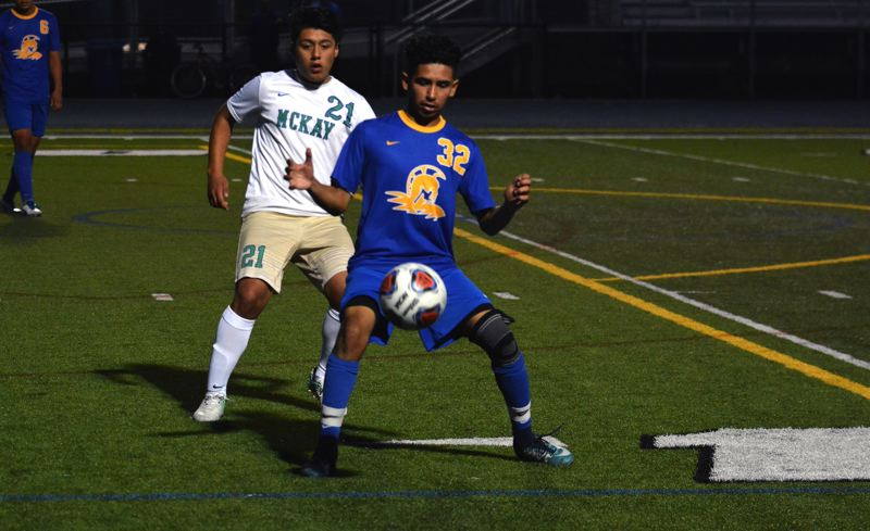 TIMES PHOTO: MATT SINGLEDECKER - The Aloha boys soccer team tied with McKay 1-1 in non-league action on Monday.