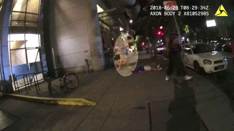 IMAGE: PORTLAND STATE UNIVERSITY - A screenshot from Portland State University Officer James Dewey's body camera, altered to highlight Jason Washington moments before he was shot June 29.