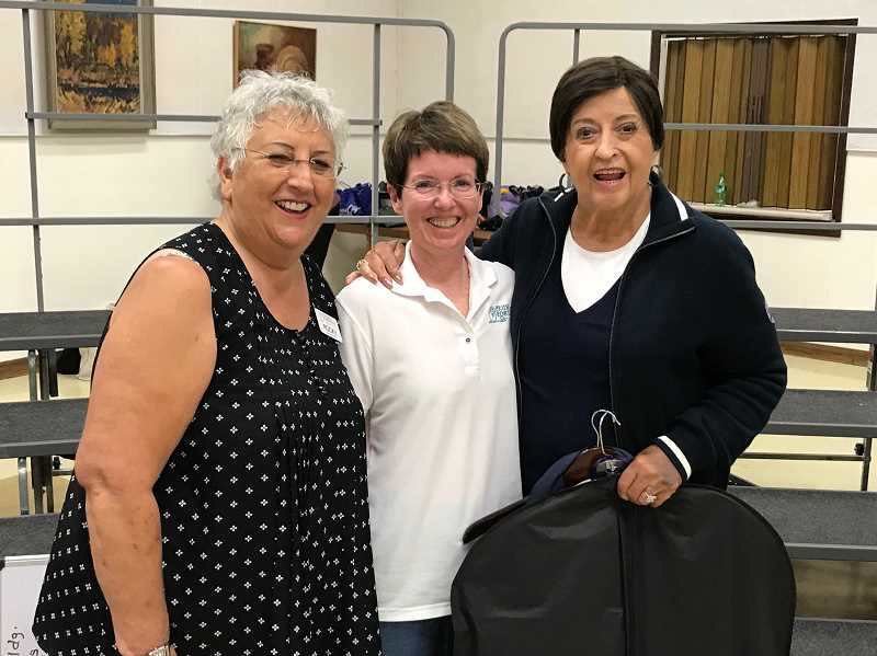 COURTESY PHOTO - Three of the four singers heading to St. Louis for the Sweet Adelines International Competition are (from left) Rocky VanDerZanden, Jo Brehm and Harriet Goglin. Julie Mikulic is not pictured.