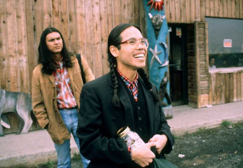 SUBMITTED PHOTO - Victor Joseph, at left, played by Adam Beach, and Thomas Builds-the-Fire, portrayed by Evan Adams, are shown in a scene from 'Smoke Signals.' Beach, who starred in the 1998 film, will be in Madras for the screening of the film in October.