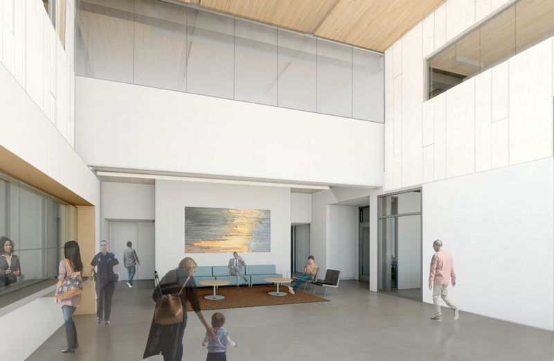 COURTESY: FFA ARCHITECTURE AND INTERIORS - The use of cross laminated timber inside the Beaverton Public Safety Center allows the design team to reduce the amount of exterior skin  without compromising ceiling height.