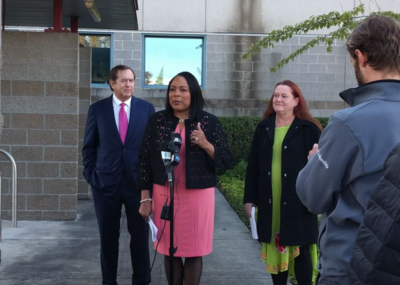 PORTLAND TRIBUNE: JIM REDDEN - Philanthropist Jordan Schnitzer, Multnomah County Commissioner Loretta Smith, and social service provider Maura White outside Wapato during the Sept. 20 press conference.