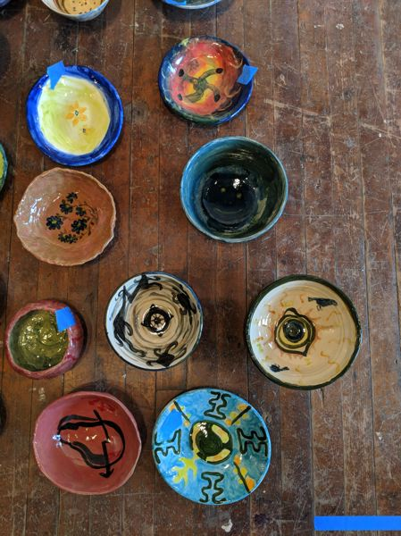 TRIBUNE PHOTO: JOSEPH GALLIVAN - Bowls included in Dana Lynn Louis project were painted by people who have experienced homelessness.
