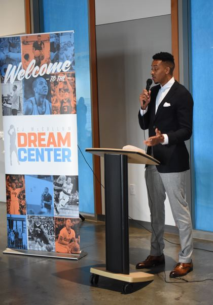 OUTLOOK PHOTO: MATT DEBOW  - CJ McCollum introduces the C.J. McCollum Dream Center at the Rockwood Boys & Girls Club on Monday, Sept. 17.