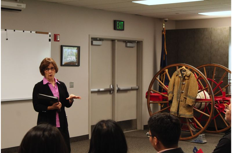 STAFF PHOTO: MARK MILLER - U.S. Rep. Suzanne Bonamici held a town hall meeting at the Banks Fire District on Saturday, Sept. 22.