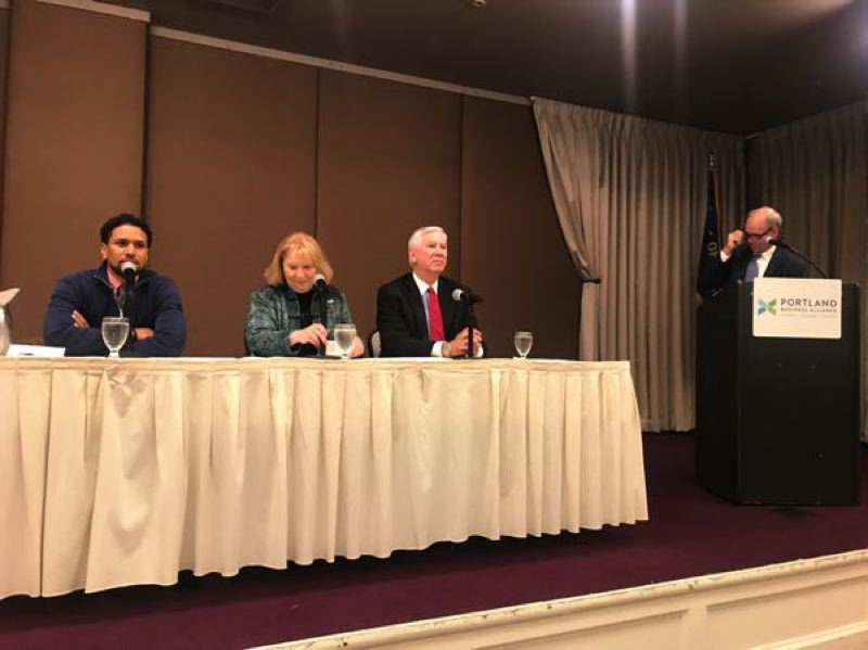 COURTESY: PORTLAND BUSINESS ALLIANCE - Alando Simpson, the vice president of City of Roses Disposal & Recycling, Vancouver Mayor Anne McEnerny-Ogle and TriMet General Manager Doug Kelsey talking about The Future of Portland Mobility at the Portland Business Alliance on Sept. 19, 2018.