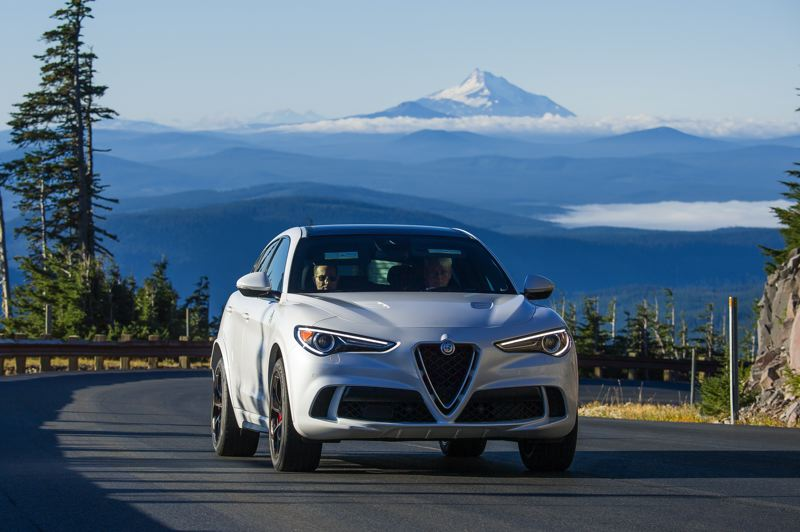 DOUG BERGER/NWAPA - The 2018 Alfa Romeo Stelvio Quadrifoglio was named the Northwest Most Fun to Drive Vehicle and Northwest Most Fun SUV at this year's Run to the Sun event.