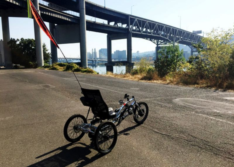 COURTESY ADAPTIVE BIKETOWN/KERR BIKES - A recumbent electric tricycle is shown here in Portland's east side.