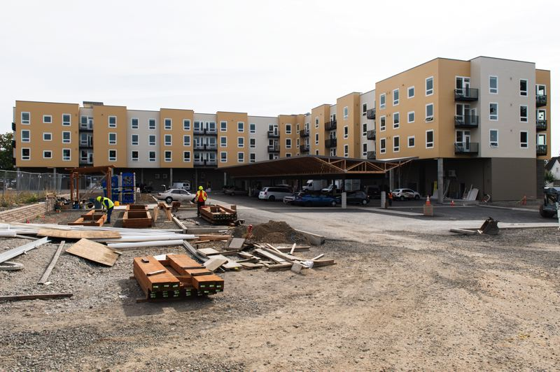 STAFF PHOTO: CHRISTOPHER OERTELL - The work is not finished just yet, but the Jesse Quinn Apartments at the west end of downtown Forest Grove are rapidly approaching completion.