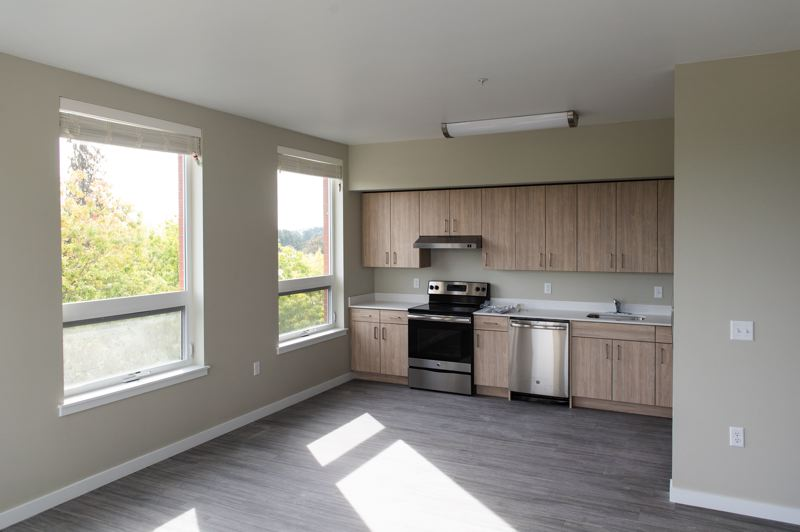 STAFF PHOTO: CHRISTOPHER OERTELL - Stainless steel GE appliances are among the fixtures and features installed in units at the Jesse Quinn Apartments, like this three-bedroom apartment on the fourth floor.