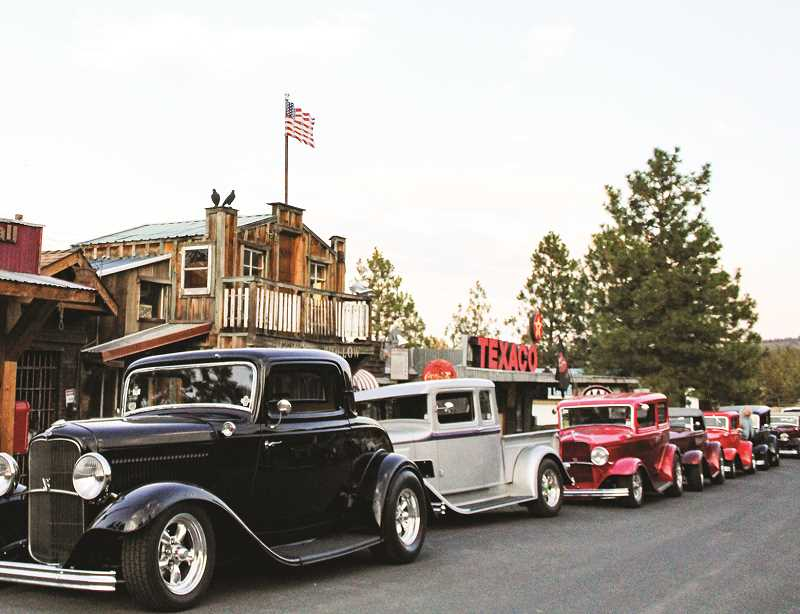JASON CHANEY - A collection of '32 Ford hot rods line the fictitious town of Hooterville, created by property owner and Prineville businessman Rick Becerra. He remarked that so many '32s in Prineville is an amazing sight.