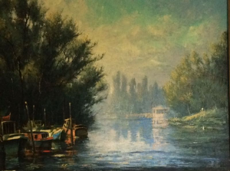 PHOTO COURTESY: CCC - 'Thames River Near Richmond' is an oil pinting by Leland John on display at Clackamas Community College in Oregon City.