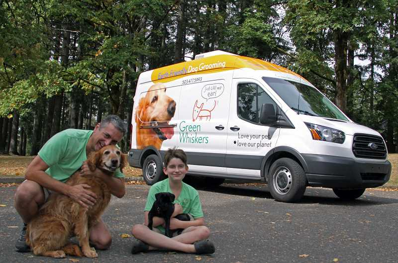 SUBMITTED PHOTO - Greg Robeson and his son Milo have teamed up for the Green Whiskers dog washing company.