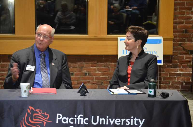 STAFF PHOTO: GEOFF PURISNGER - Bob Terry, left and Kathryn Harrington address voters at a forum at Pacific University on Sept. 24. The pair will meet at a handful of forums over the next few weeks, including another at the Hillsboro Civic Center on Oct. 10.