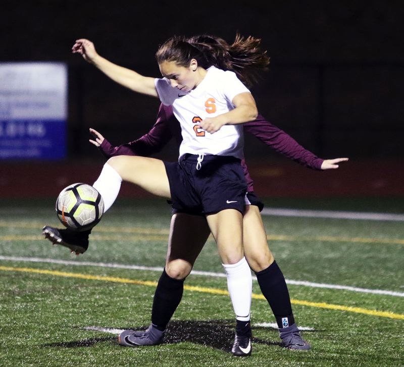 PAMPLIN MEDIA GROUP: DAN BROOD - Scappoose sophomore Anika Havlik controls the ball during the Indians 1-0 non-league loss at Tualatin on Monday.