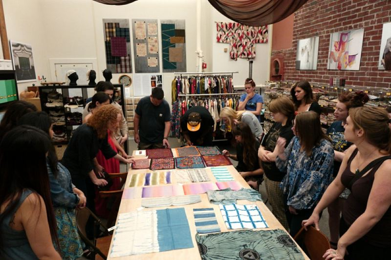 COURTESY: PORTLAND TEXTILE WEEK - Folks take a tour of Textile Hive, a private museum of fabric in downtown Portland. The Hive will host the kick-off event for the inaugural Portland Textile Month on Oct. 1, 2018.