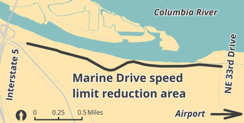 COURTESY PBOT - The Portland Bureau of Transportation released this graphic showing the area where speed limits will be lowered to 35 miles per hour on Northeast Marine Drive.