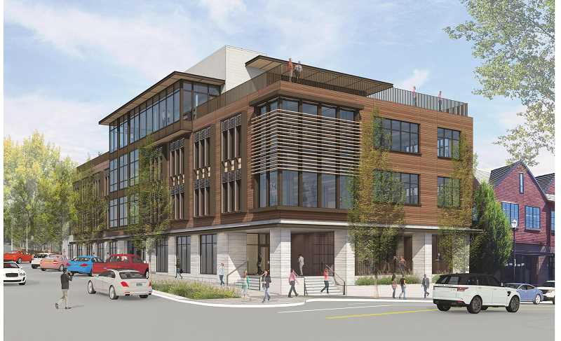 SUBMITTED PHOTO - Beacon Lake Oswego will include ground-floor retail, offices and shared spaces on the second and third floors and a rooftop event center. This view looks northeast at the corner of Third Street and B Avenue.