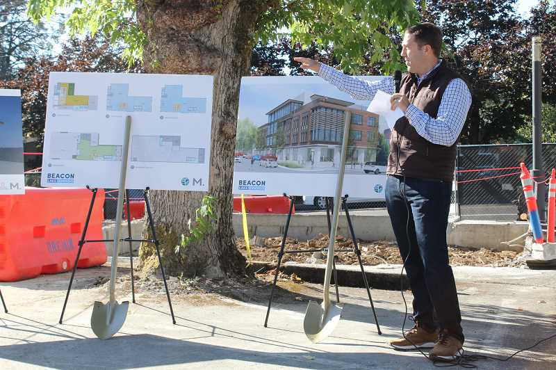 REVIEW PHOTO: SAM STITES - Miles Haladay speaks to the crowd at the groundbreaking ceremony for Beacon Lake Oswego, which will be located at the corner of Third Street and B Avenue.