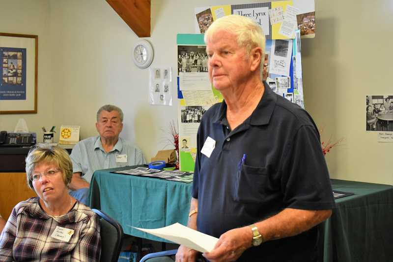 ESTACADA NEWS PHOTO: EMILY LINDSTRAND - John Barksdale speaks during a reunion for Three Lynx School last week. The event was held at the Sandy Historical Society Museum.