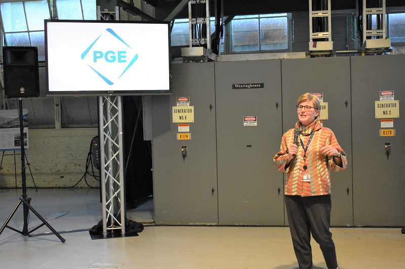 ESTACADA NEWS PHOTO: EMILY LINDSTRAND - Portland General Electric President and CEO Maria Pope discusses the legacy of the Faraday Powerhouse during an event earlier this week.