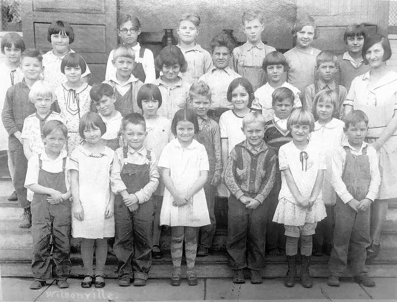 PHOTO COURTESY WILSONVILLE BOONES FERRY HISTORICAL ASSOCIATION -  Wilsonville School lower grade class photo in 1928. The teacher is Mrs. Munnick.