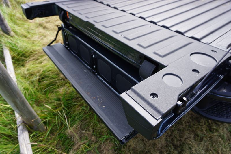 PORTLAND TRIBUNE: JEFF ZURSCHMEIDE - You can fold the tailgate on the 2019 GMC Sierra to create a step up into the bed, or the ability to stand closer to the bed with the tailgate down. You can also flip the inner tailgate down on its own to create a standing desk or workbench.
