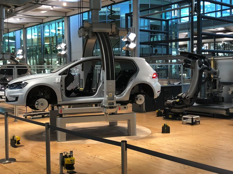 PORTLAND TRIBUNE: JEFF ZURSCHMEIDE - The VW factory is in Dresden, Germany, where all-electric e-Golfs, like the one pictured, are produced today. The entire factory is expected to produce only all-electric vehicles in a few years.