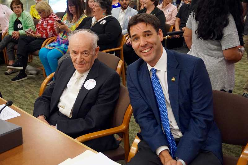 REVIEW PHOTO: CLAIRE HOLLEY - Holocaust survivor Alter Wiener and state Sen. Rob Wagner are all smiles as they prepare to testify in front of the Senate Committee on Education.