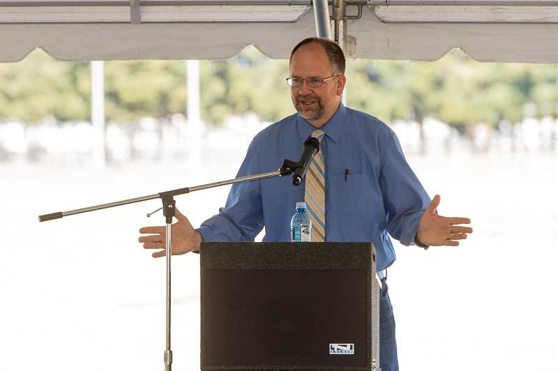 STAFF PHOTO: CHRISTOPHER OERTELL - Washington County Board Chair Andy Duyck addresses a crowd during the ground breaking of the new events center at the Washington County Fair Complex on Tuesday, Sept. 25.