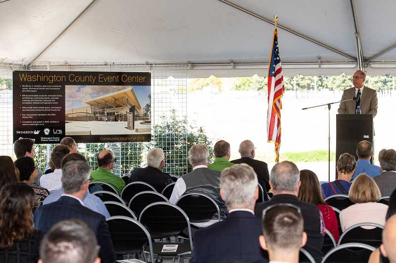 STAFF CENTER: CHRISTOPHER OERTELL - Hillsboro Mayor Steve Callaway was one of several elected officials on hand for the groundbreaking of Washington County's new events center.