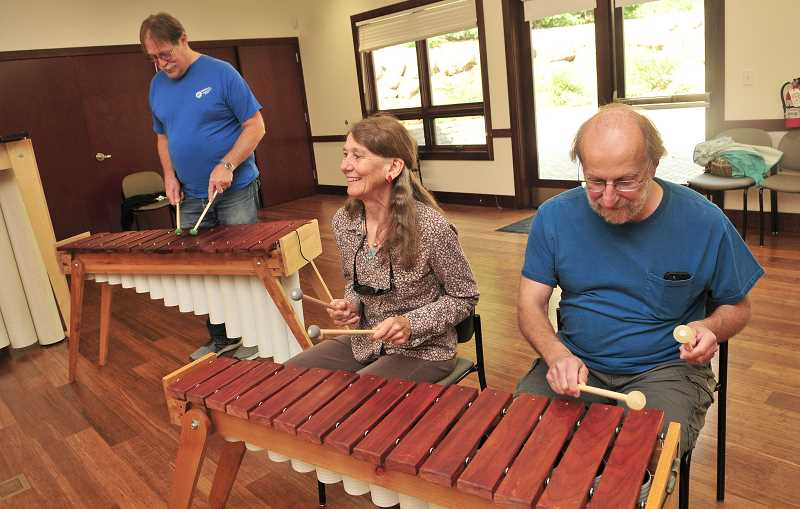TIDINGS PHOTO: VERN UYETAKE - From left, Mitch Wiegand, Phyllis Ault and Eric Griswold get ready to play their parts.