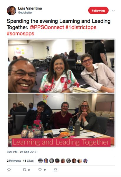 SCREENSHOT: TWITTER.COM - Portland Public Schools Chief Academic Officer Luis Valentino tweets out a pair of photos Monday night of school and elected officials with several of the new mottos of the district: Learning and Leading Together, the hashtag #1DistrictPPS and the Spanish-language #somospps, meaning We are PPS.