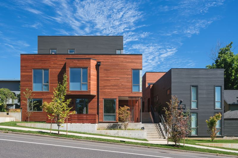 COURTESY: KUDA PHOTOGRAPHY - The Vermont 10 development in Southwest Portlands Hillsdale neighborhood was developed by Patrick Clark and built on the site of a single-family house owned by the adjacent St. Barnabas Episcopal church. The project is comprised of five small duplex buildings housing 10 three-bedroom units.