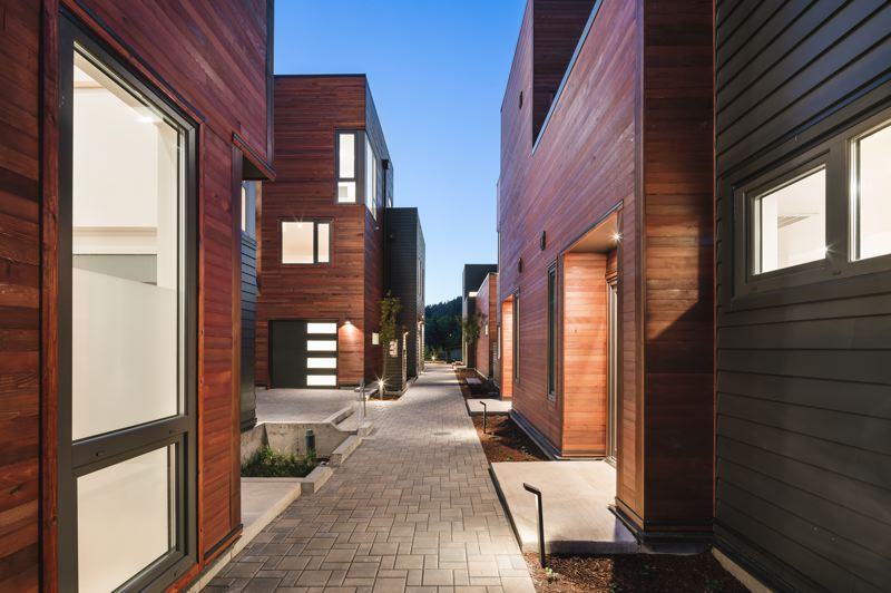 COURTESY: KUDA PHOTOGRAPHY - The Vermont 10 project is comprised of five small duplex buildings housing 10 three-bedroom units.