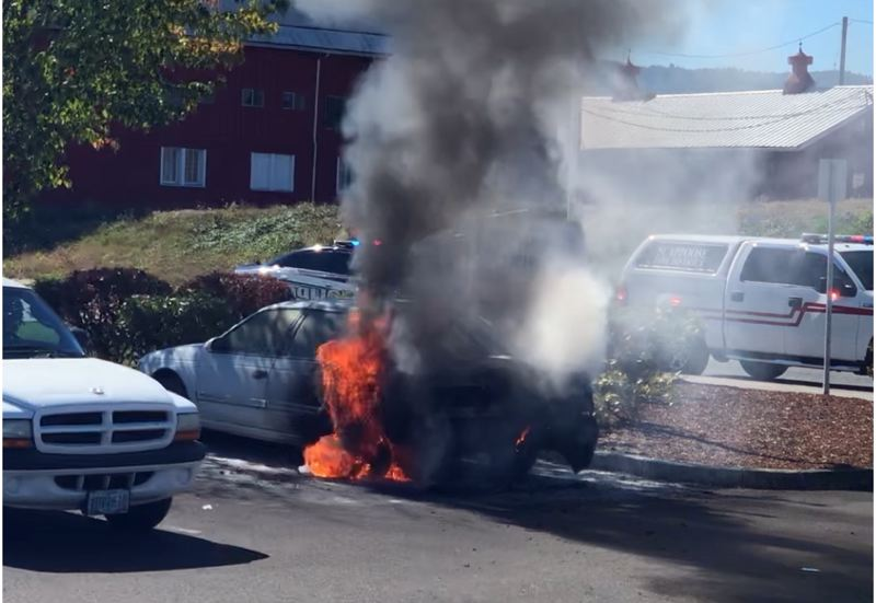 COURTESY PHOTO - A sedan parked at Brookdale Rose Valley Assisted Living in Scappoose remains charred after catching fire Wednesday afternoon, Sept. 26. The car fire is under investigation.