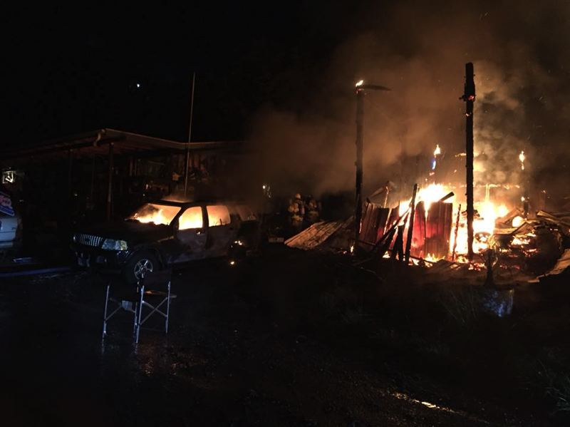 PHOTO COURTESY OF SCAPPOOSE FIRE DISTRICT - Scappoose Fire District responded to a fire at 2:21 a.m. on Sunday, Sept. 23, in the 3200 block of Apple Valley Road. An SUV and shop were declared a total loss. The cause of the fire is under investigation.