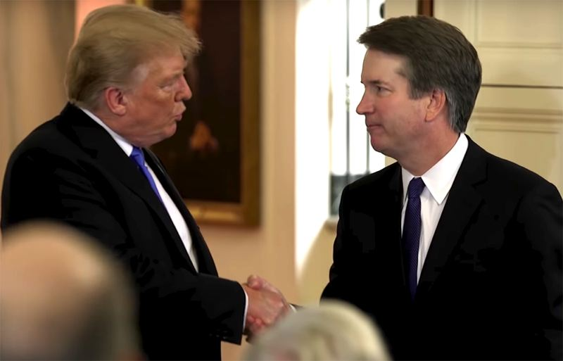 COURTESY PHOTO: WHITEHOUSE.GOV - President Trump shakes hands with U.S. District Judge Brett Kavanaugh during a July nomination ceremony at the White House.