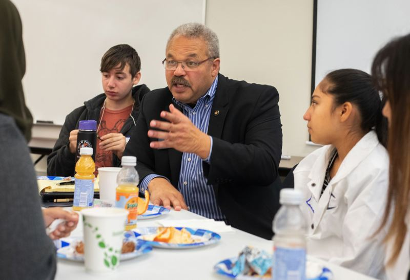 PAMPLIN MEDIA GROUP: JONATHAN HOUSE - State Sen. Lew Frederick, D-Portland, talked with students during a meeting Thursday, Sept. 27, at Multnomah Education Service District.