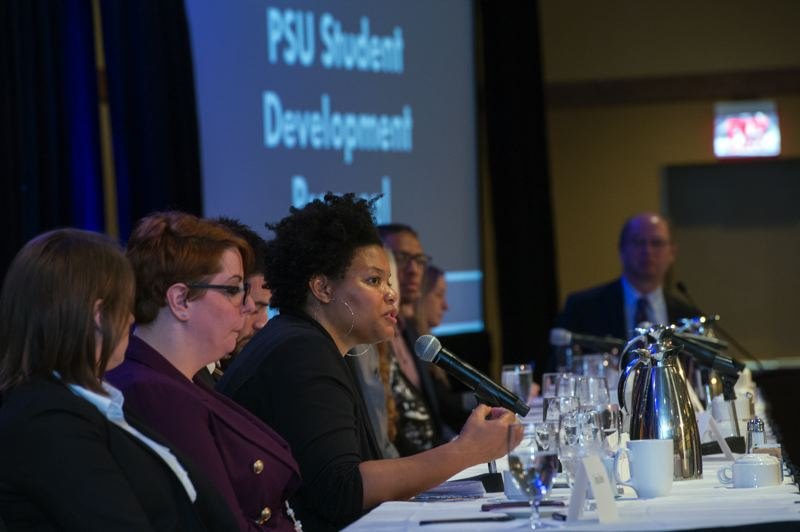 COURTESY: PORT OF PORTLAND - LaTaunynia Campbell, a student in Portland State Universitys Master in Real Estate Program, answers a question from the judges during a competition in which graduate students brainstormed ideas for a master plan for the Hillsboro Airport.