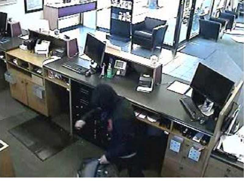 PHOTO COURTESY OF FBI - A man believed to be the 'froggy robber' is caught on surveillance camera footage at a Scappoose bank in January.