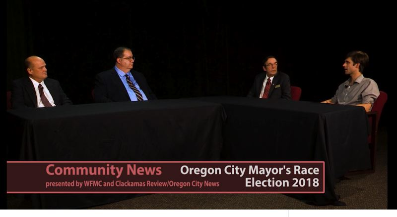 WILLAMETTE FALLS MEDIA CENTER - From left, Mark J. Matheson, Damon Mabee and Dan Holladay participate in the debate hosted by Raymond Rendleman.