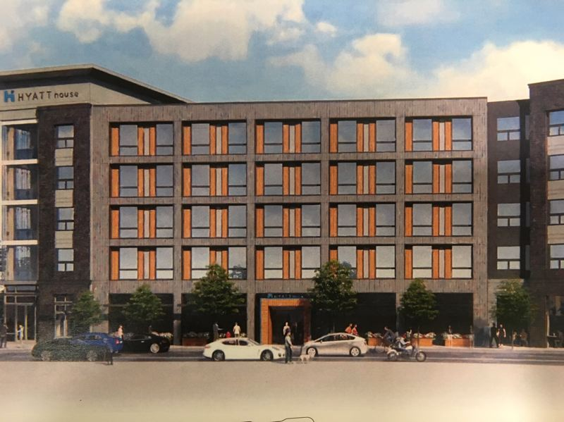 COURTESY CITY OF BEAVERTON VIA ARRIS STUDIO ARCHITECTS - A rendering of the proposed five-story, 121-room Hyatt House as seen from Southwest Crescent Street in Beaverton, where the main entrance will be. The Beaverton Planning Commission approved the hotel plan on Sept. 26.