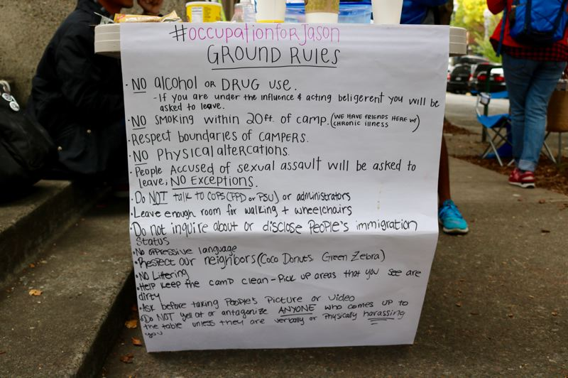 TRIBUNE PHOTO: ZANE SPARLING - The list of 'Ground Rules' at the PSU occupy protest.